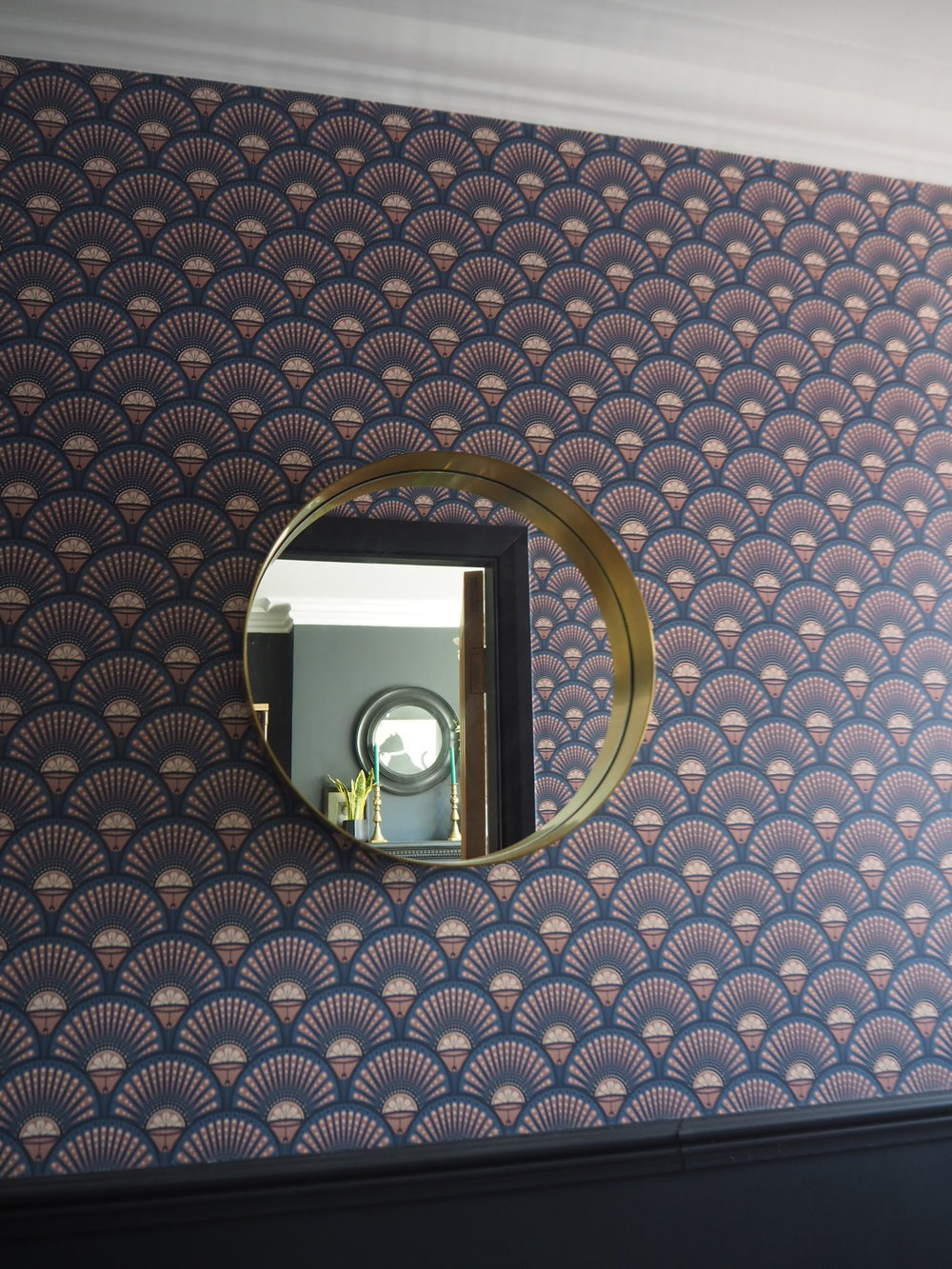 Mirror-   Made.com   £99, Divine Savages -   Deco martini Blush   wallpaper £140 per roll