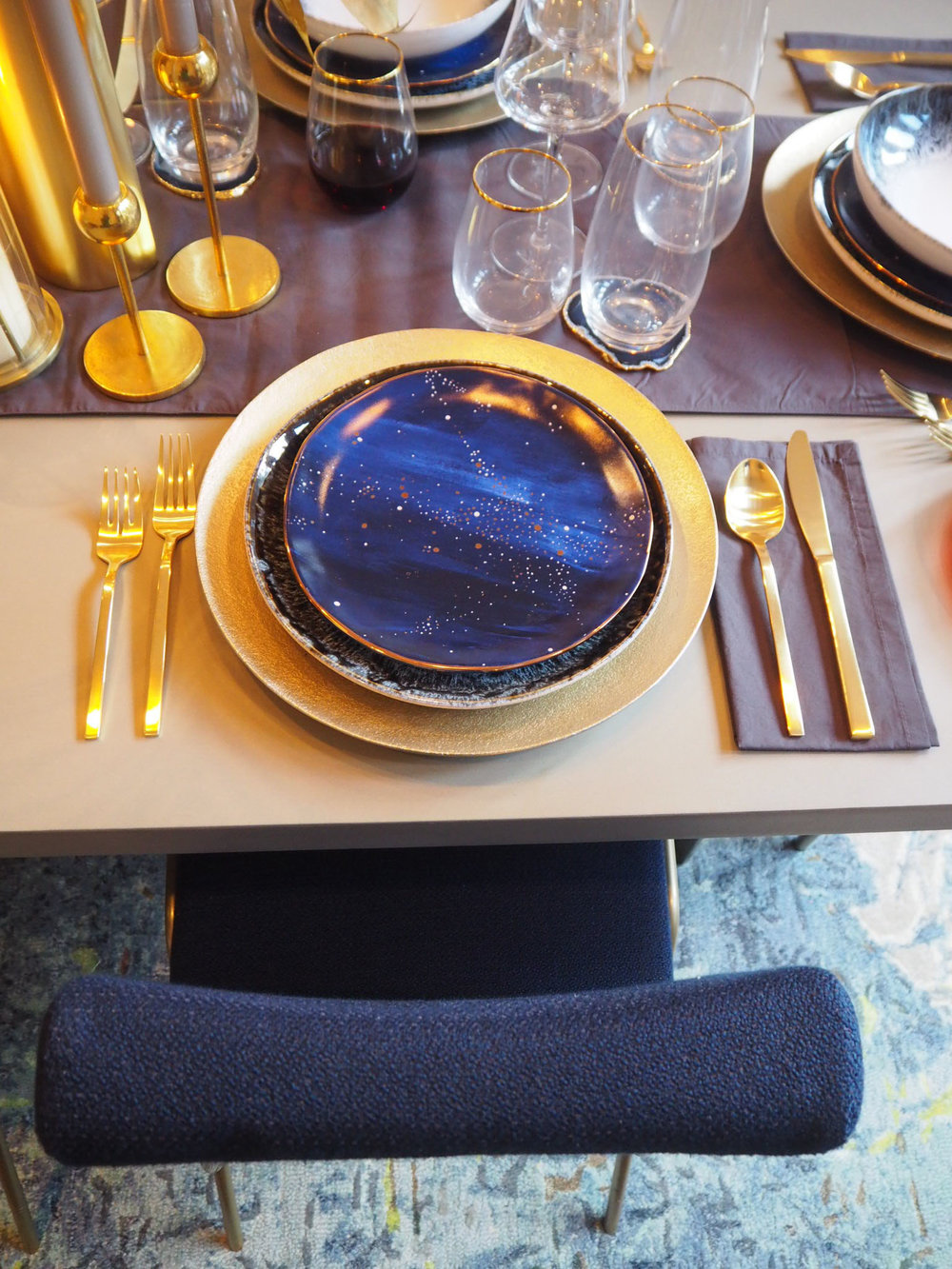 Constellation salad plate £12   each from West Elm.   Agate blue/ gold coasters   £64 for a set of 4 from West Elm.