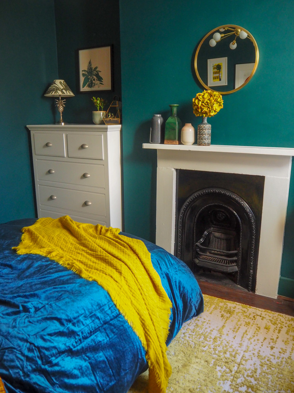 Crinkle Velvet Duvet Cover + Pillowcases   - Golden Oaks £149 from   West Elm   ;    Washed Cotton Lustre Velvet Duvet Cover + Pillowcases - Regal Blue   £149 from   West Elm   ;    Metalized Glass Table Lamp + USB - Small (Green)   £99 from   West Elm  ;   Alloy Distressed Rug   £499 from   West Elm  ; Bed (Old);   Waffle Weave Throw in horseradish   £39 from   West Elm  . Mirror from   Sainsburys   - old.
