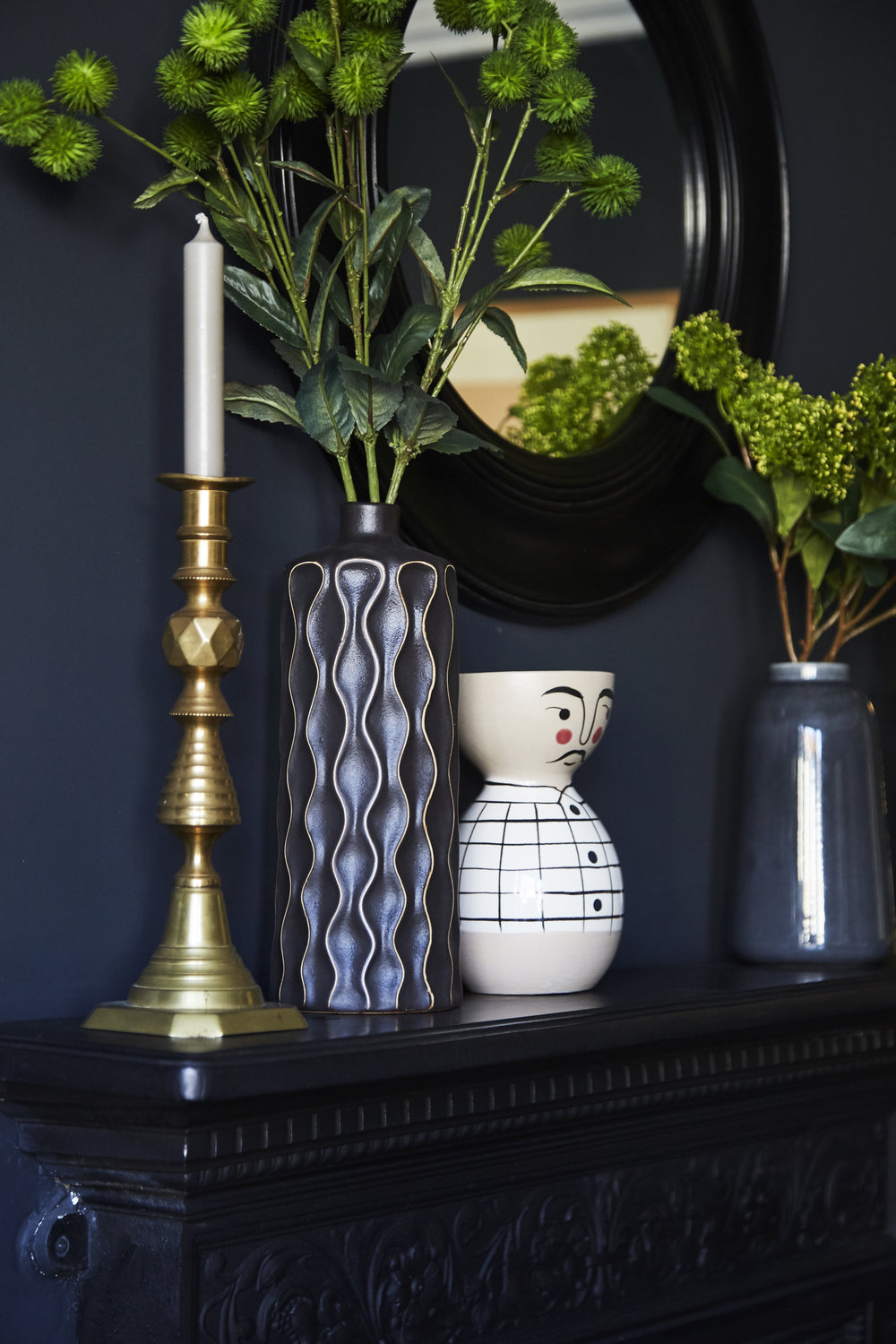 Solid brass candle sticks are antique; Vases are from   Homesense.