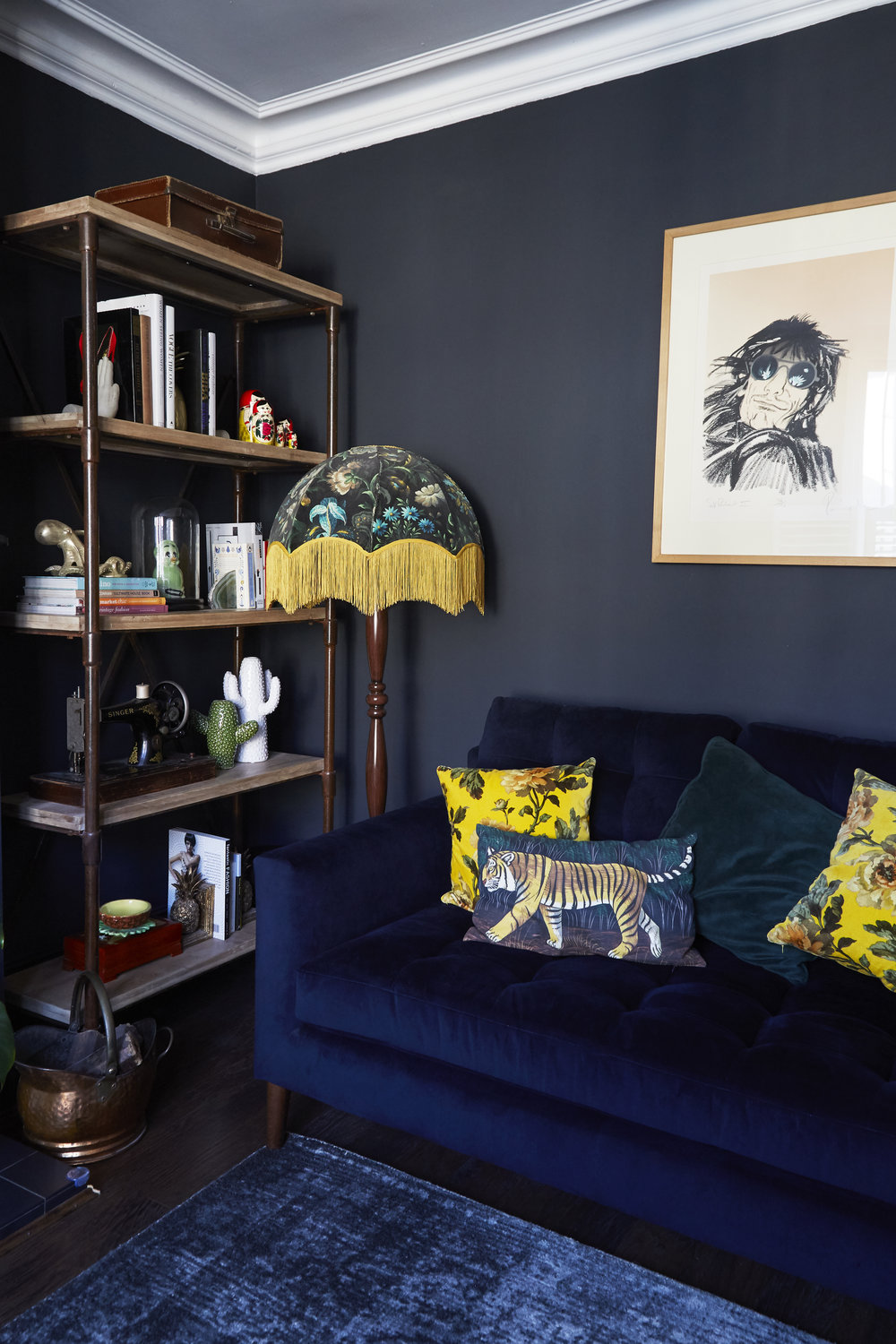Draper Navy velvet sofa   £1,499 , From   John Lewis  ;   Distressed Arabesque Wool Rug - Steel   £449, From   West Elm  ; Lampshade was made by me.   See blog post for details.