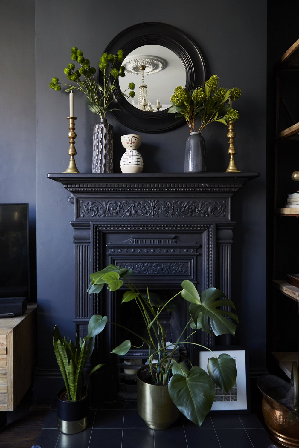 Solid brass candlesticks are antique; Vases are from   Homesense   ;  Faux flowers are from   Homesense;       Brass plant pot     is from     H&M   .    Black Mirror   from   Wayfair    .