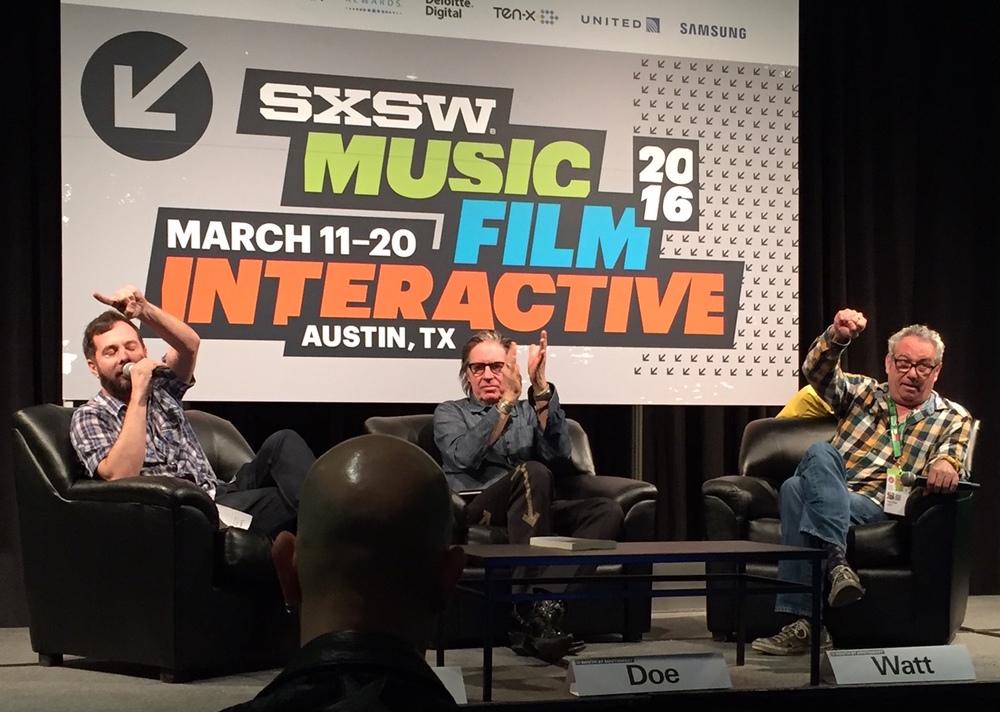 Tom DeSavia, John Doe & Mike Watt at the Under the Big Black Sun panel at SXSW