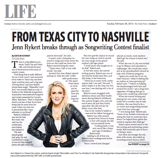 Jenn was featured on the cover of the Lifestyle section in the Galveston County Daily News on February 28, 2016.