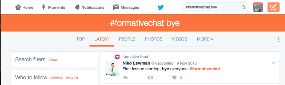 5) At the end of the chat, say goodbye to others and feel free to follow them!