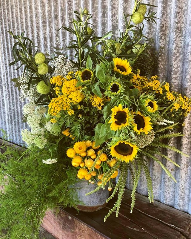 "Roses aren't your thing? This Valentine's Day go different, go wild and order our ""Fields of Sunflowers"" which includes wild flowers, natives, sunflowers and trailing vines perfect for the woman or man who loves a bit of colour and a funky mix of long lasting blooms. #flowers #byronbay #sunflowers #love #byronbayflorist #localbusinesses #locallygrown #natives"