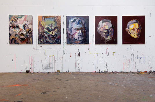 A series of paintings from Ben Quilty's Inhabit (2010) series. Courtesy the artist and Grantpirrie.