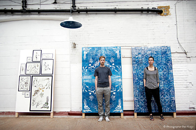 Tim Simpson and Sarah van Gameren stand in front of some of their work. Photo: Petr Krejci