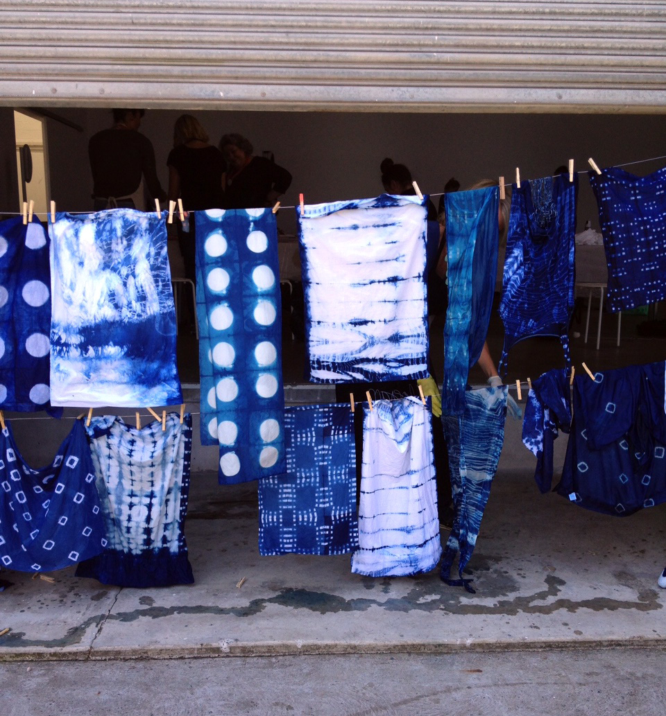Some of the  shibori  textiles created at one of Joanna Fowles' workshops.