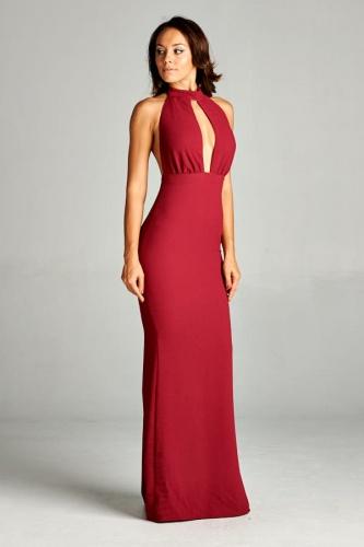 Plunging Neck Dress