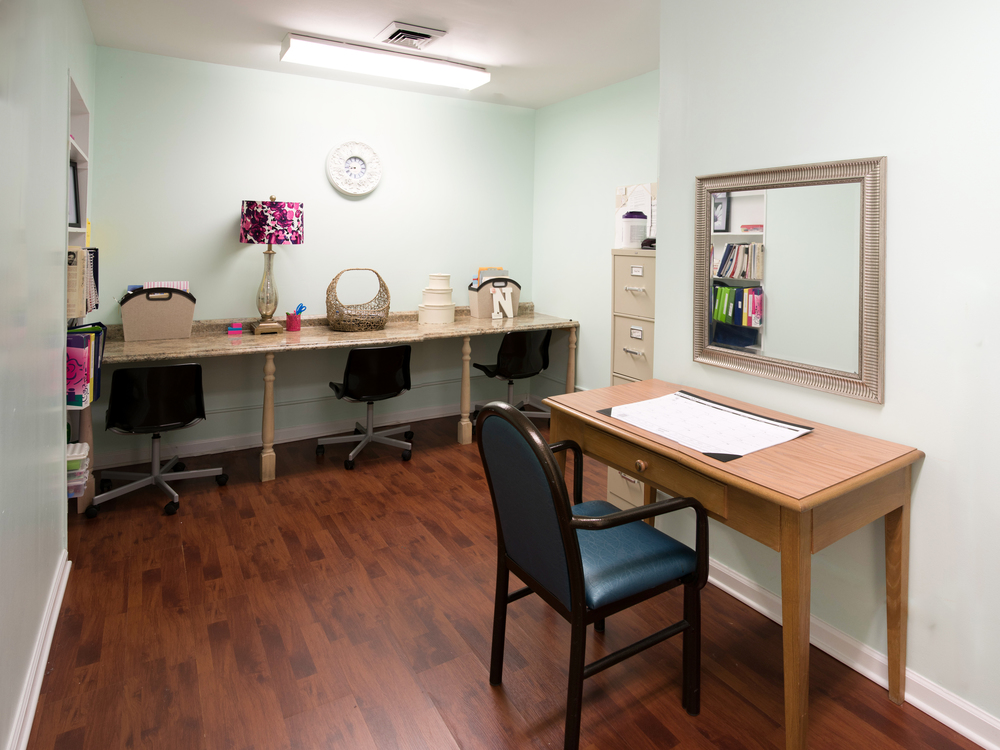 This picture shows our Speech-Language Pathology office.  This area provides a quiet, private space for our residents while working with our therapists.   (Click to enlarge)