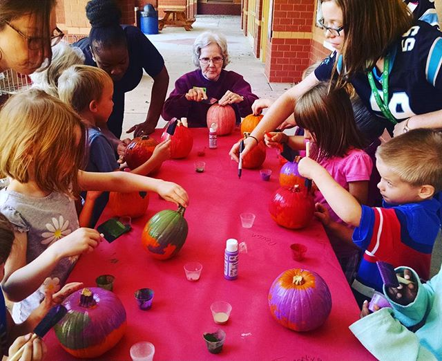 Happy Fall Y'all! Pumpkin paintings is fun for all ages! #fiveoaksmanor #staffmemberswhocare #shorttermrehab #longtermcare