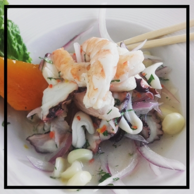 It appears I can no longer frame my pictures with the burnt looking edges. Great. lol. This is a pic of the wonderfully delicious ceviche from Limo in Cusco, Peru.