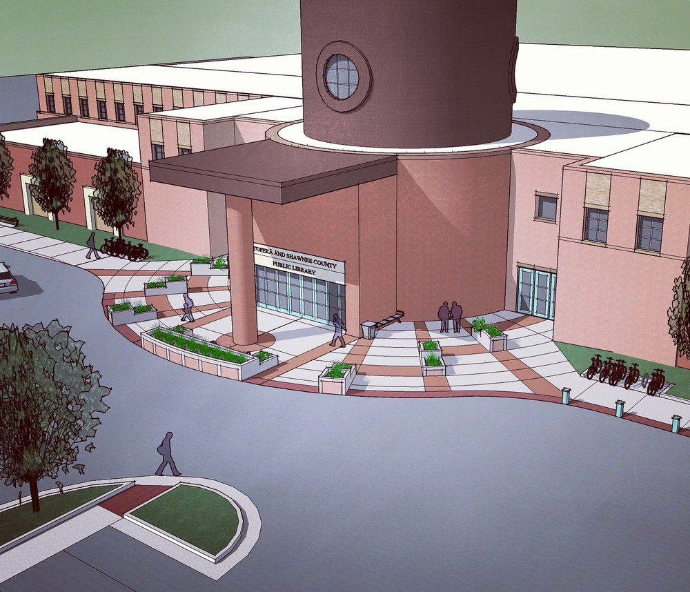 Topeka and Shawnee County Public Library Front Entry Rendering