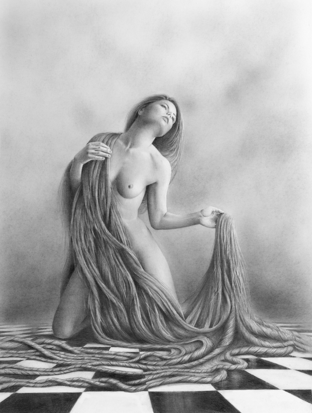 """Delilah's Remorse""                 Graphite on paper, 15"" x  12"""
