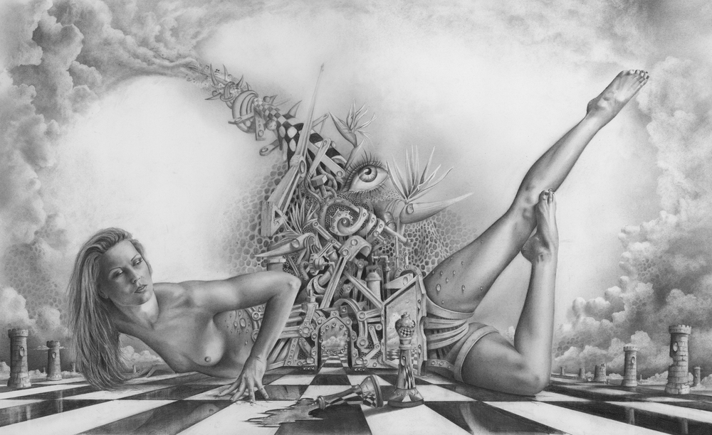 """The Alchemist Dream""                 Graphite on paper, 16"" x  26"""
