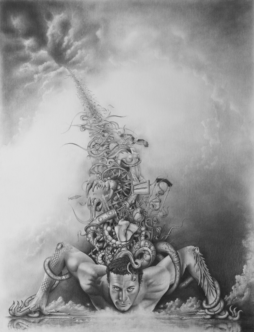 """Welcome To My Mind""                 Graphite on paper, 38"" x  30"""