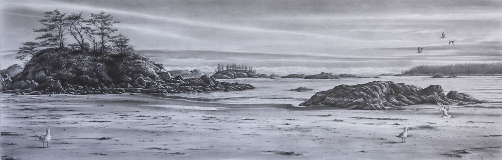 """Serenity"", Graphite on paper, 11"" x  32"""