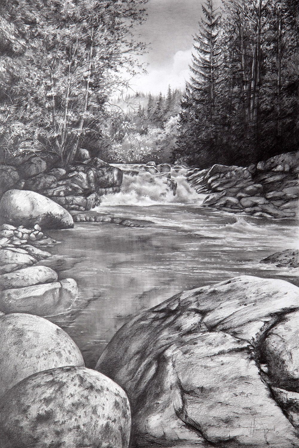"""Lynn Valley"", Graphite on paper, 16"" x  11"""