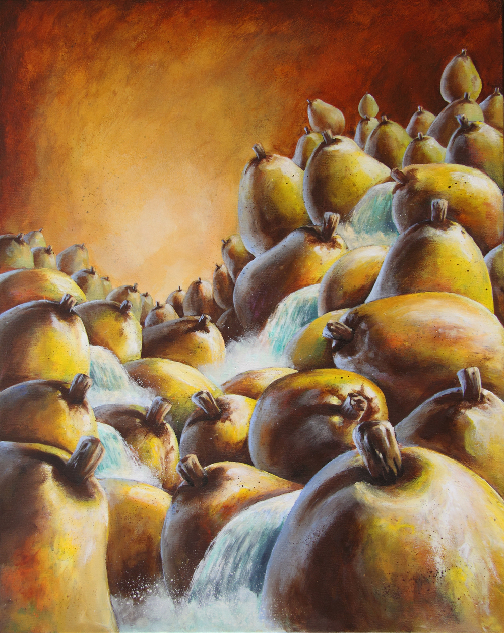 bill_higginson_pearadise-surrealism_painting-acrylic-painting-pears-fruit-canvas