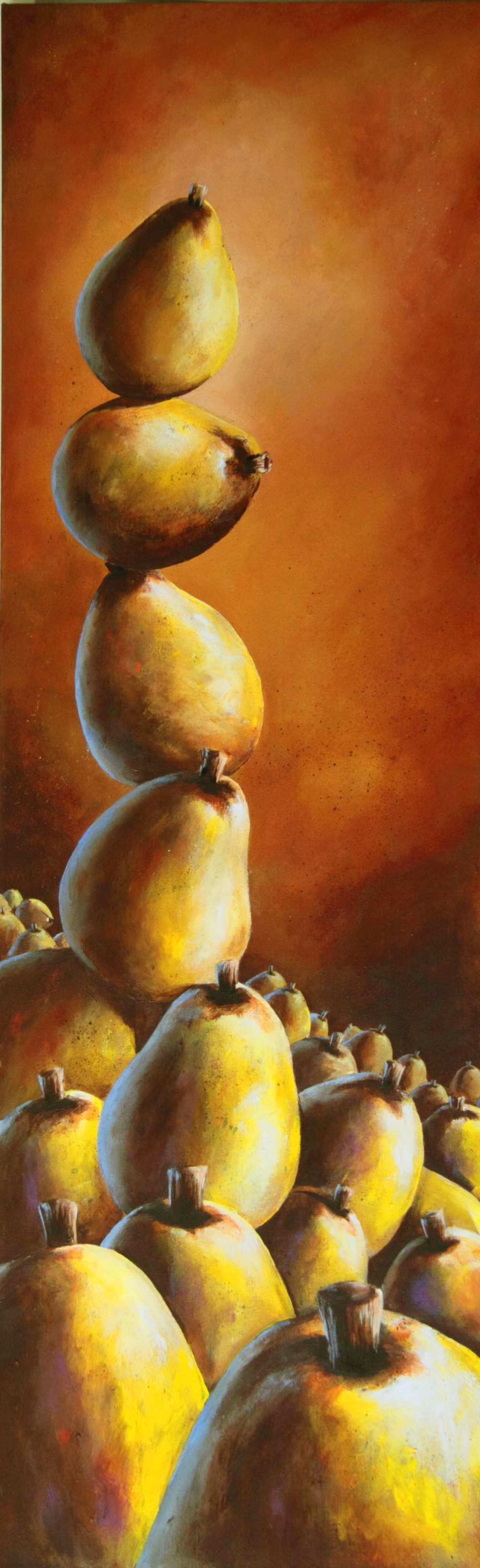 bill_higginson_balancing act-surrealism_painting-acrylic-painting-pears-fruit-canvas