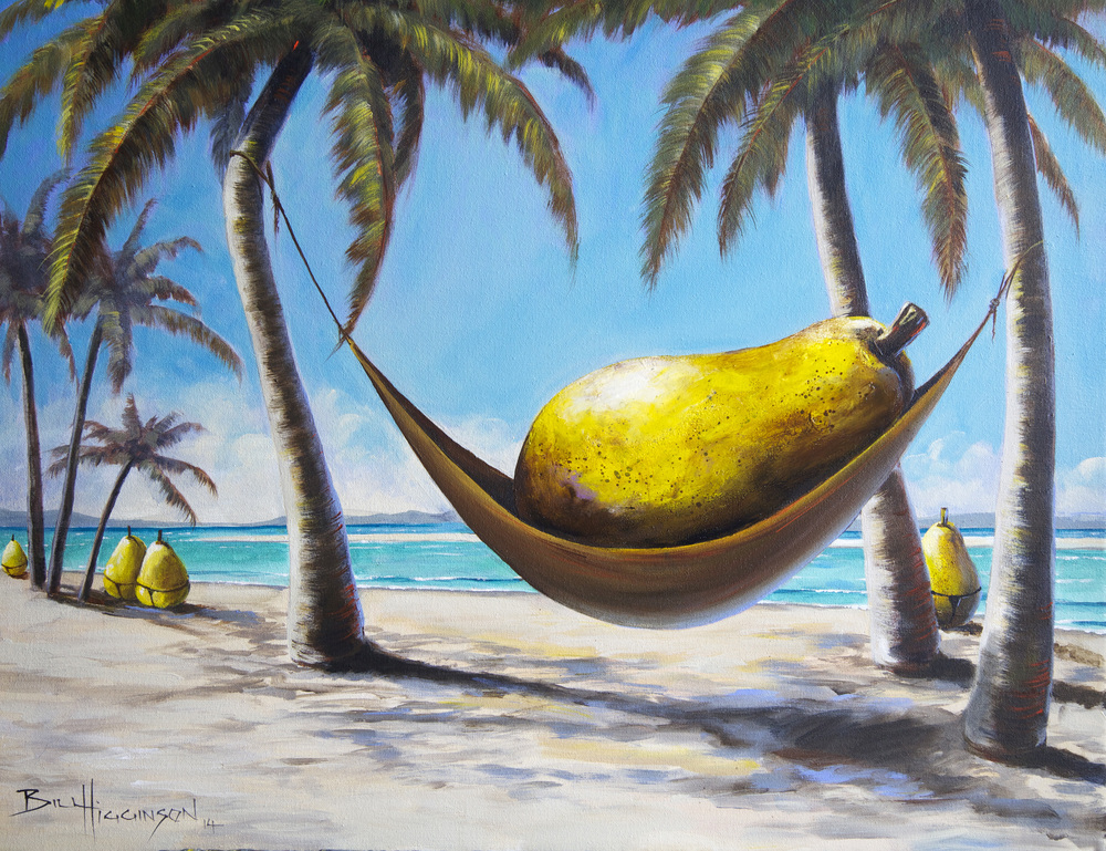 bill_higginson_a relaxed pear-surrealism_painting-acrylic-painting-pears-fruit-canvas