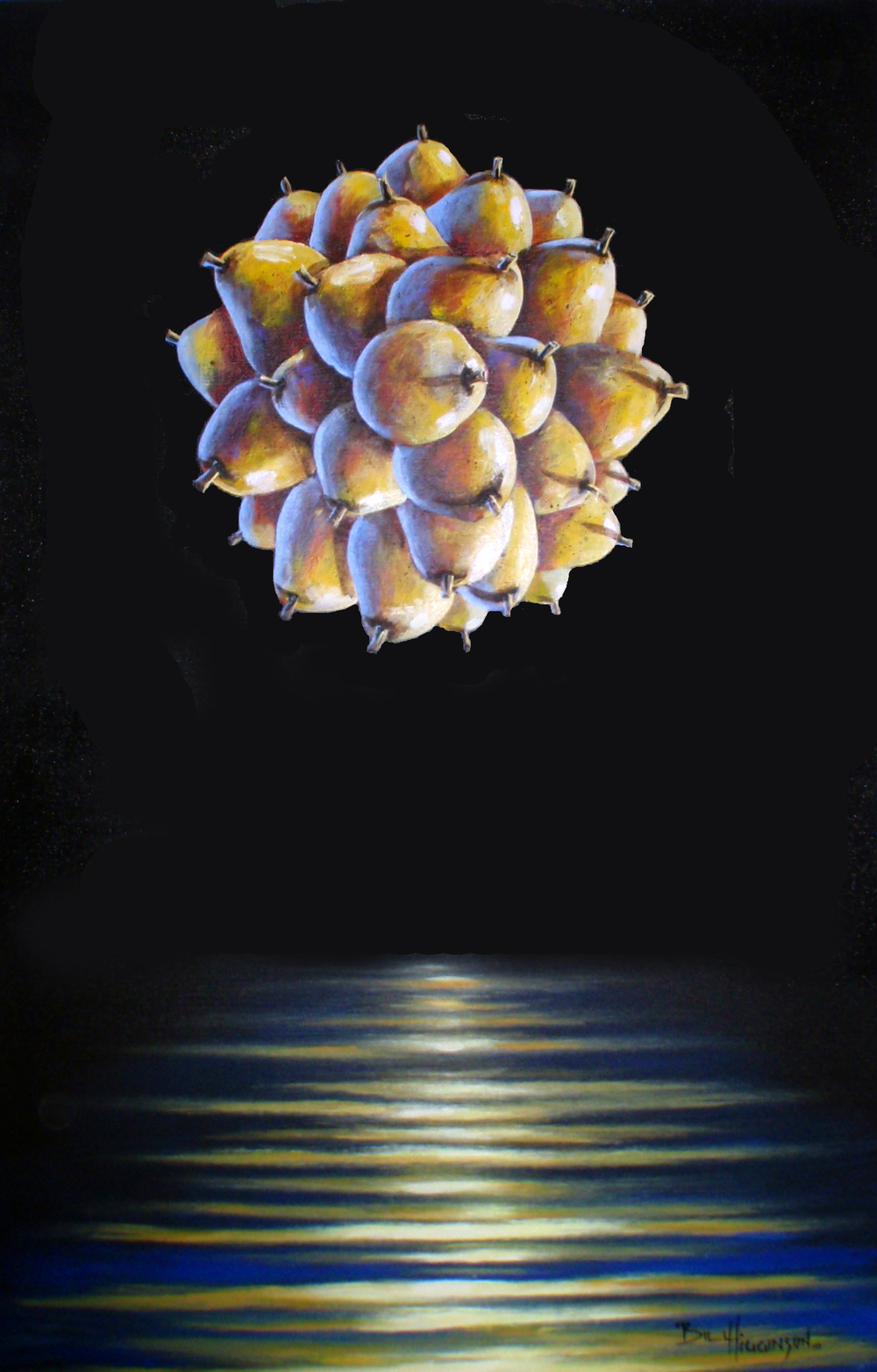 bill_higginson_pearasphere-surrealism_painting-acrylic-painting-pears-fruit-canvas