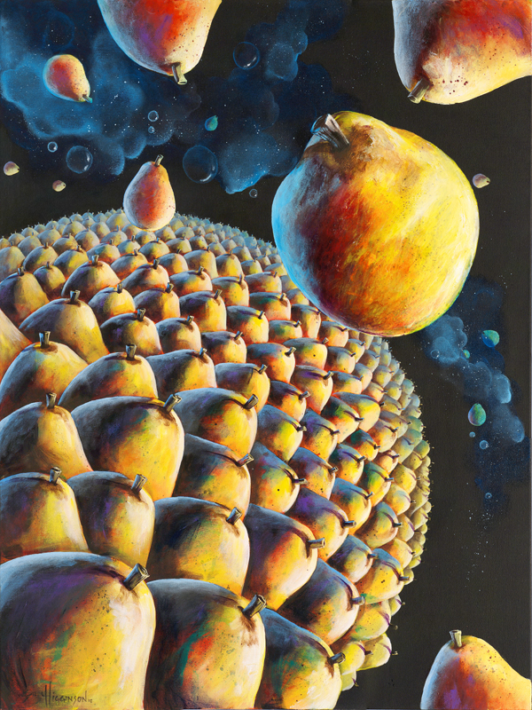 bill_higginson_the expanding pearaverse-surrealism_painting-acrylic-painting-pears-fruit-canvas