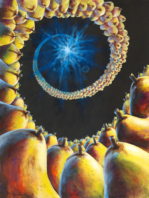 bill_higginson_the big pear bang-surrealism_painting-acrylic-painting-pears-fruit-canvas