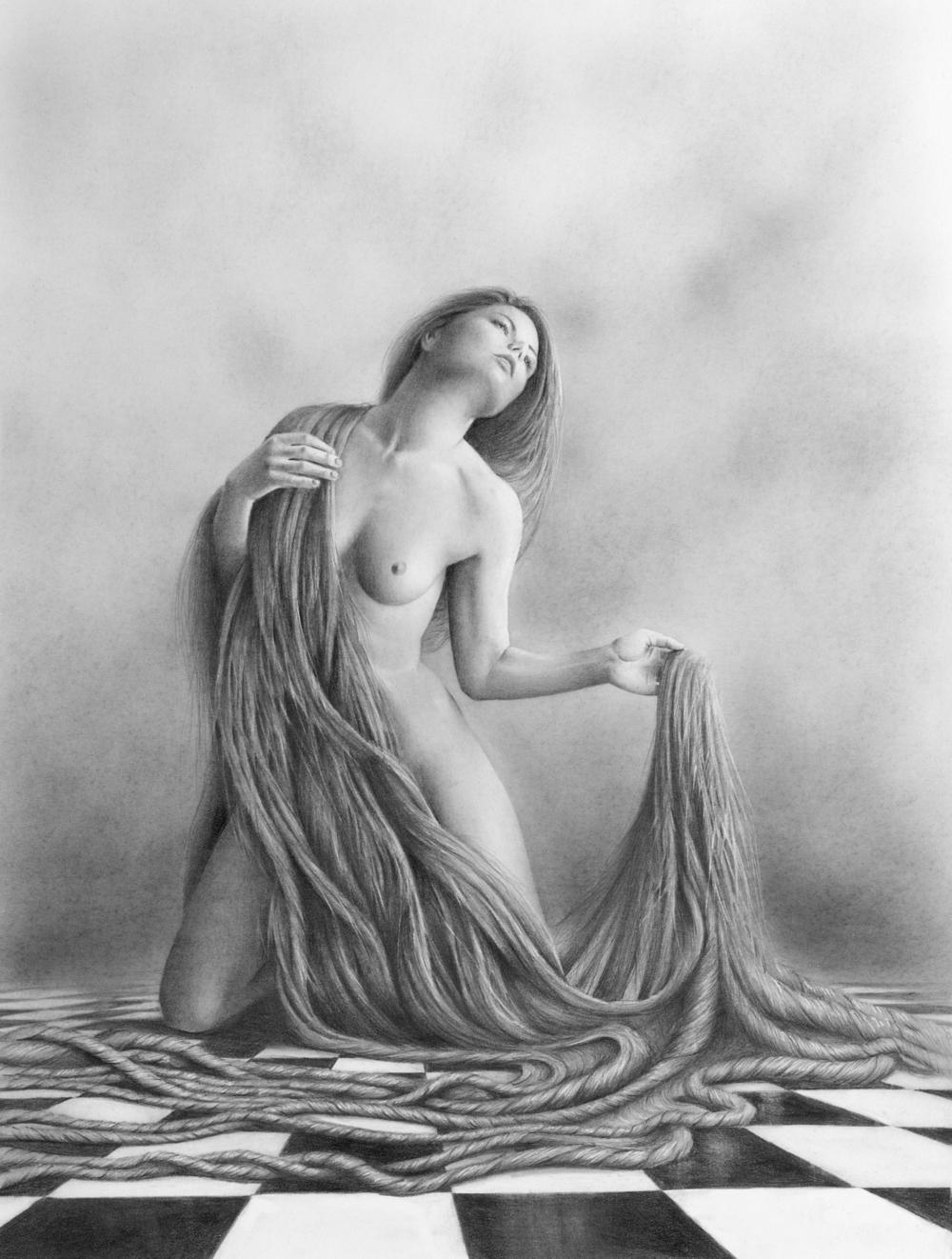 Delilah's remorse-bill-higginson-artist-graphite-drawing-realism-black-and-white