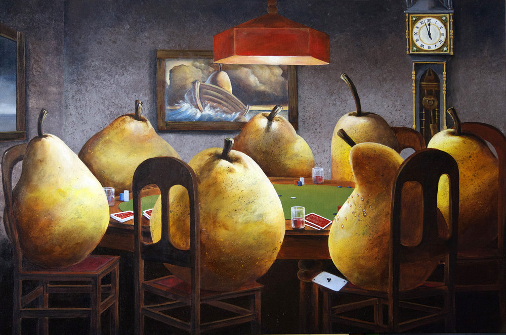 Three of a kind beats a pair-contemporary-surrealism-art-acrylic-painting-vancouver-artist-william-higginson