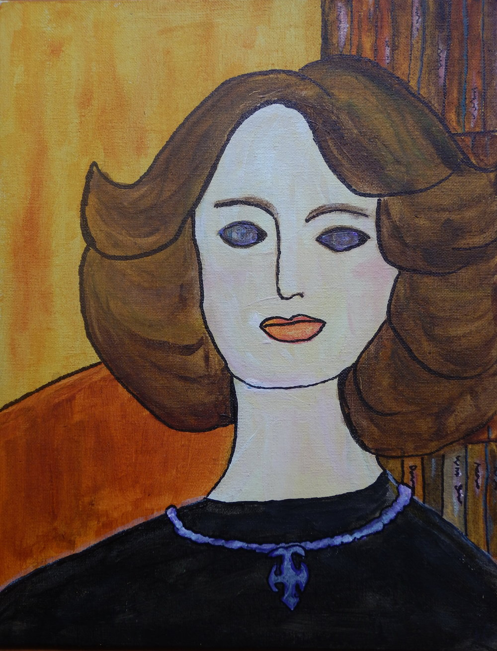 Self portrait in the style of Modigliani.