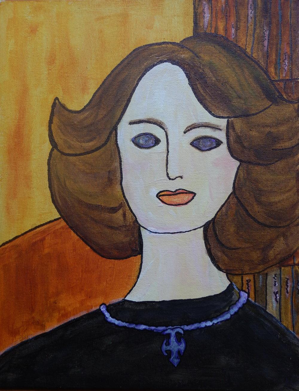 Self portrait in the style of Modigliani.