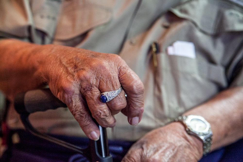 Ray Mickan, sporting a ring given to him by his wife, Ethel, is a man with a story for every occasion.