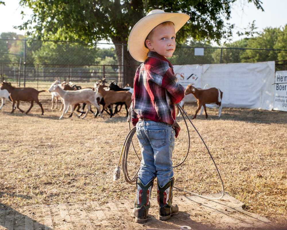 Hank Hardin, 4, prepares to try his hand at goat-roping. He and his dad, Cody, drove in from Lago Vista after hearing the 75th Annual Williamson County Sheriff's Posse might be the last rodeo held in Georgetown due to planned demolition of the city-owned arena.