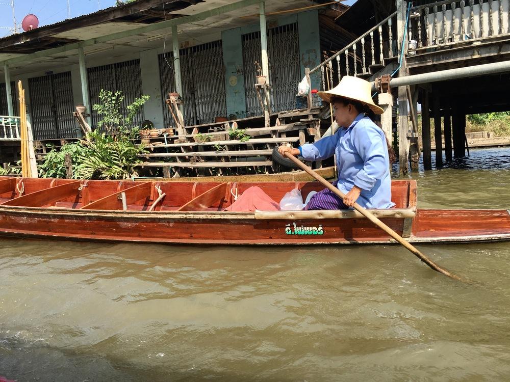 Exploring a Bangkok river market.