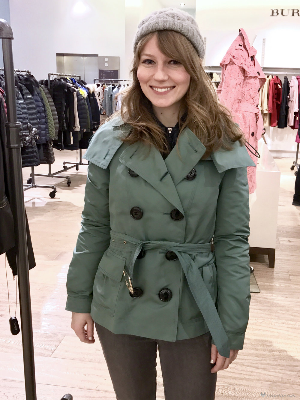 Burberry Risebrooke Showerproof Taffeta Trench Jacket in eucalyptus green, USA size 2 ( here ), hat by Rella ( similar )