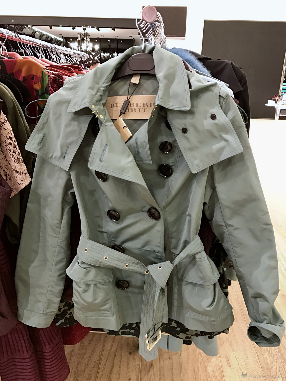 Burberry Risebrooke Showerproof Taffeta Trench Jacket in eucalyptus green, USA size 2 (  here  )