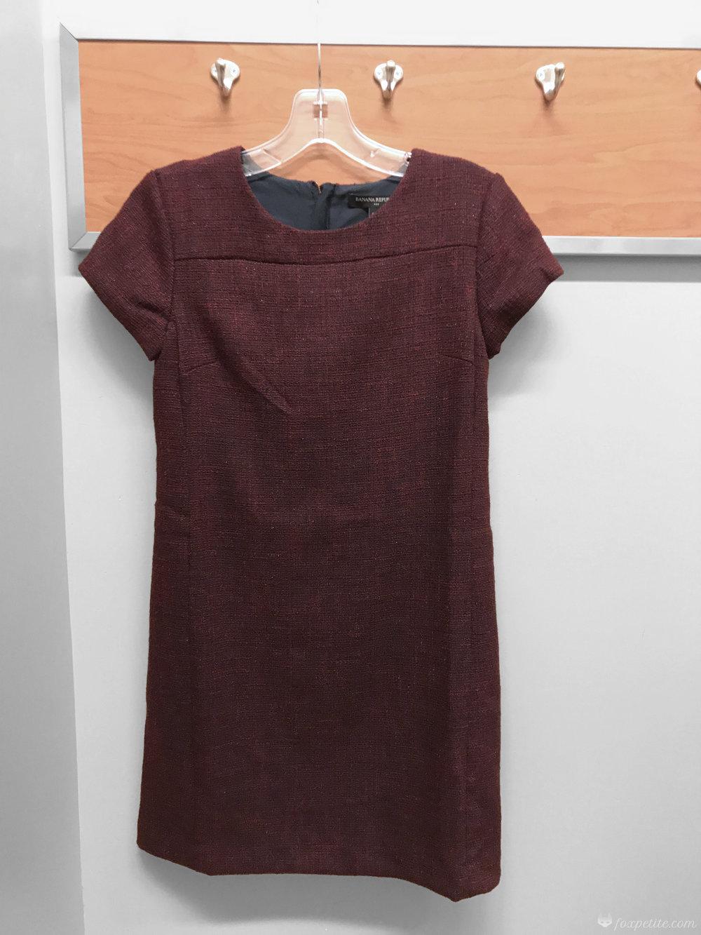 Fox Petite - Banana Republic Factory Petite Metallic Boucle Sheath Dress in black rose