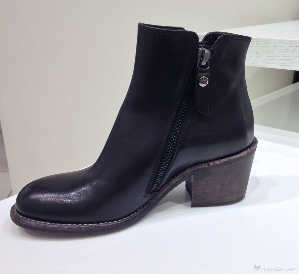 AGL 'Ella' Block Heel Bootie in Black Leather, size 34 EU (US 4).  (here)