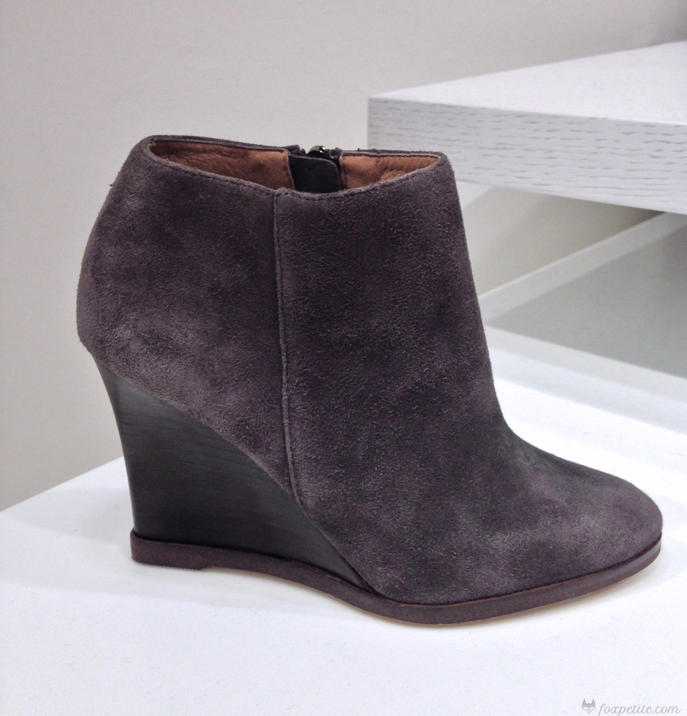 Halogen 'Selbi' Almond Toe Wedge Bootie in Charcoal Suede, size 4.  (here)