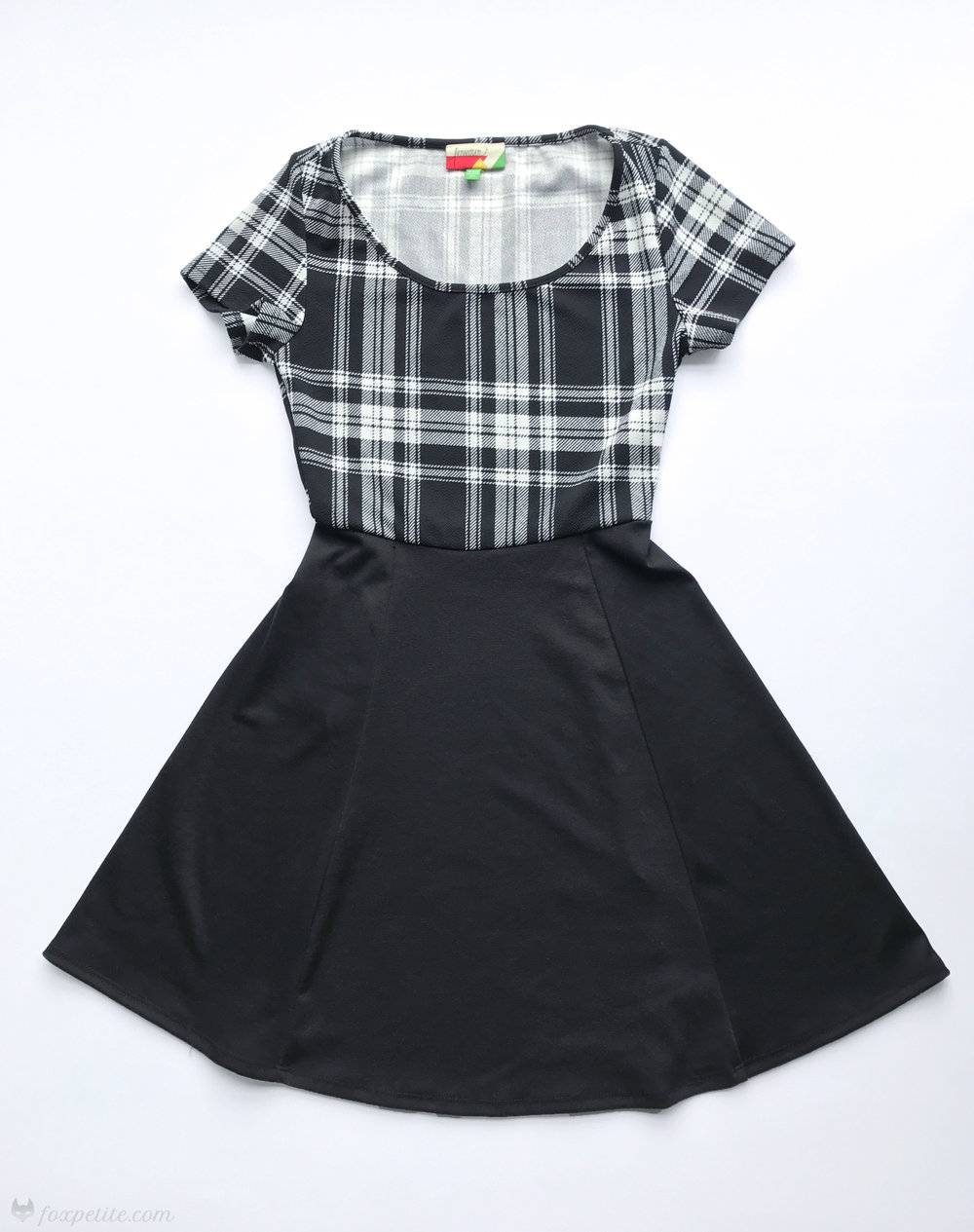 Fox Petite - Fervour Modcloth Won't Setlist for Less dress in black and white plaid flat lay