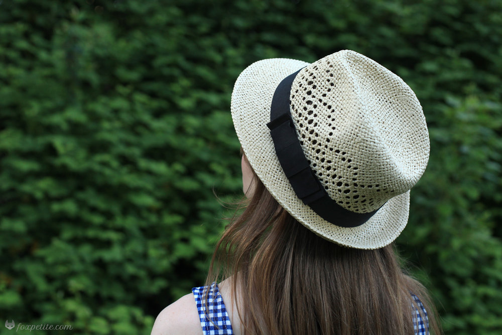 H&M  straw hat  size small in natural/black, H&M jersey dress size 4 in blue gingham check (other colours  here )