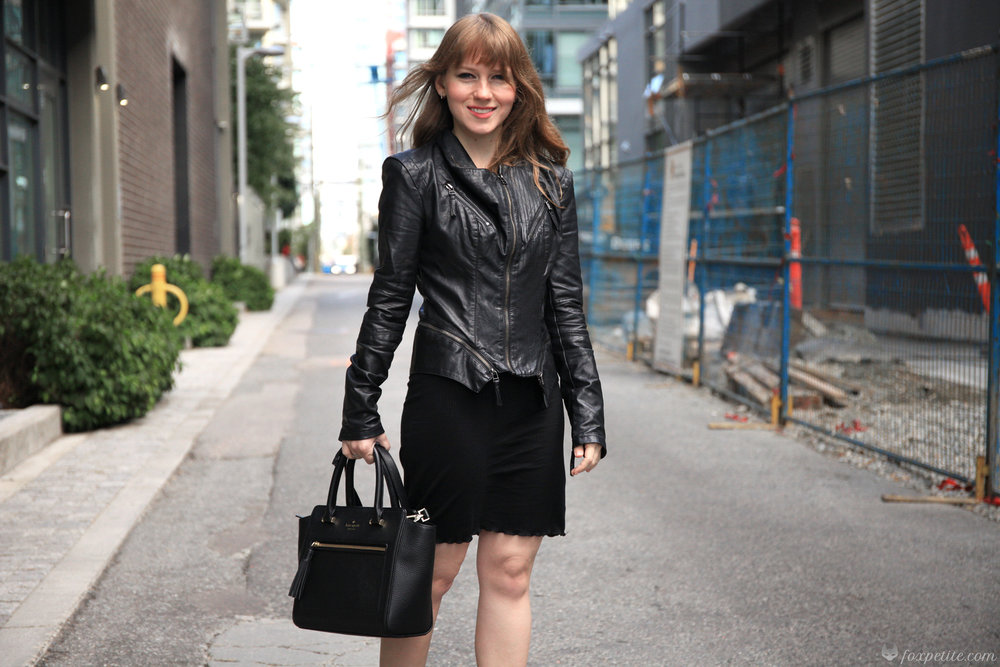 Blanknyc Faux Leather  Moto Jacket  in black size XS, Sam Edelman  Petty Ankle Booties  in black size 4.5, Aritzia Inland dress ( reviewed here ), Kate Spade Small Chester Allyn satchel ( similar )