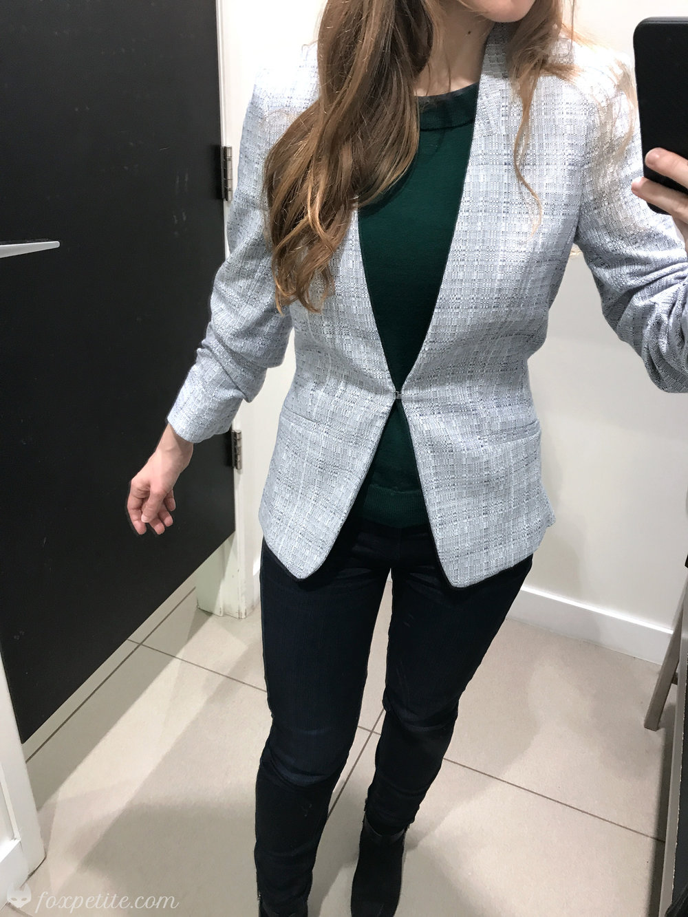 Linen Blend Fitted  Collarless Blazer  in size 2