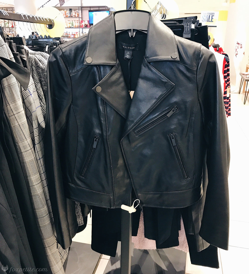 Halogen Leather  Moto Jacket  in black size XS petite