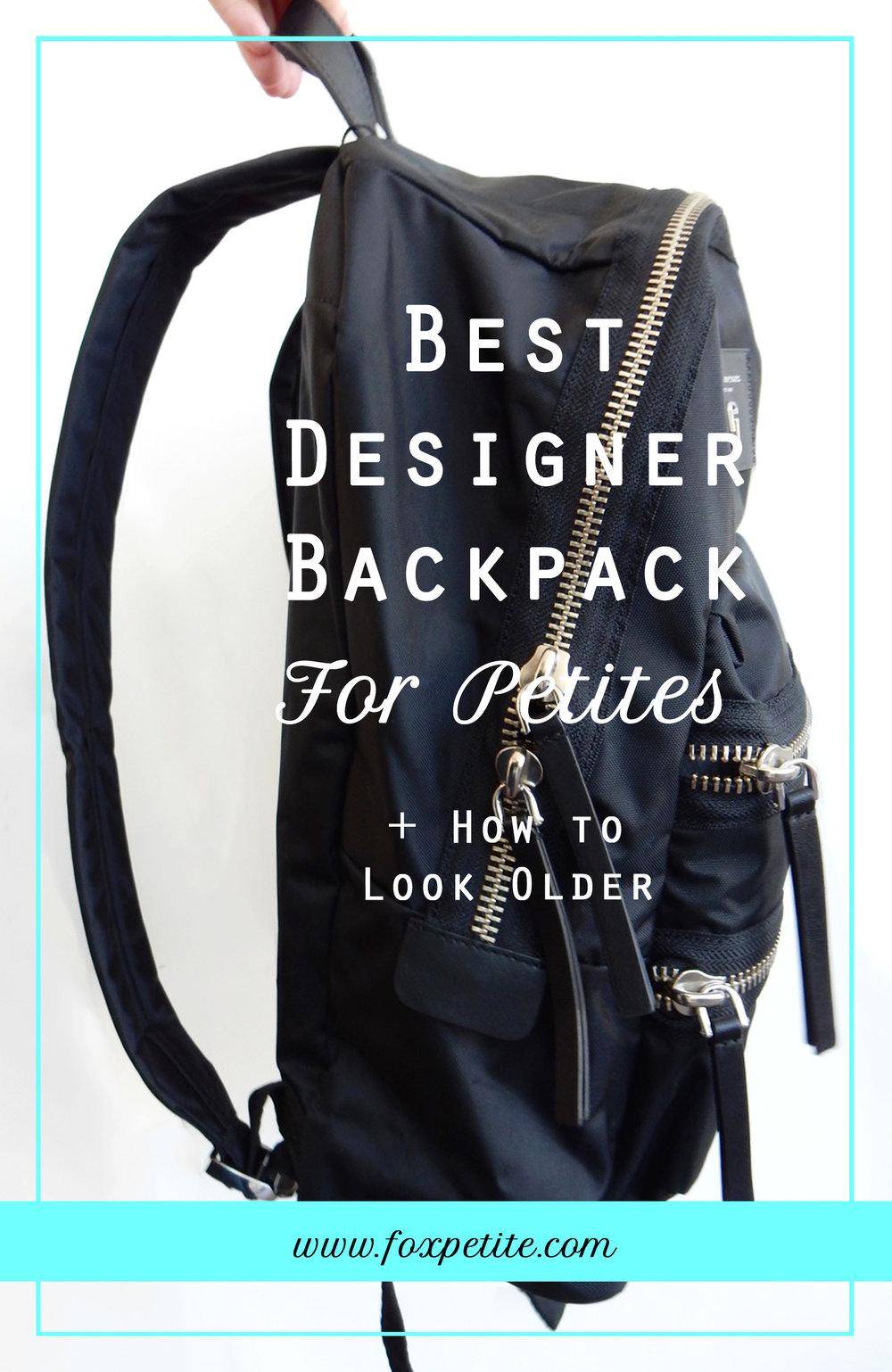Best Designer Packback for Petites and Tips on How to look Older | Fox Petite Women's Fashion Blog | Marc Jacobs nylon bag review, petite friendly travel accessory, Nordstrom, petites style advice