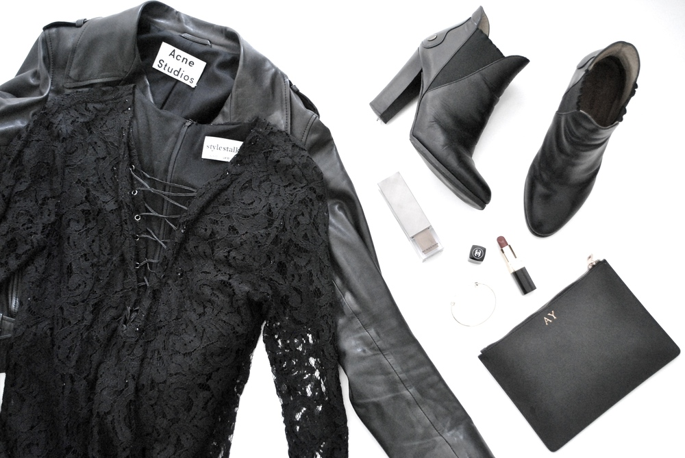 Jacket: Acne Studios, Dress: Stylestalker, Boots: Jil Sander, Clutch: TheDailyEdited