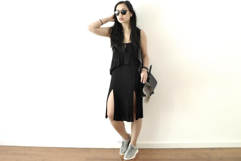 Tank: ASOS, Skirt: For Love And Lemons, Shoes: Yeezy, Bag: Saint Laurent, Glasses: Dior
