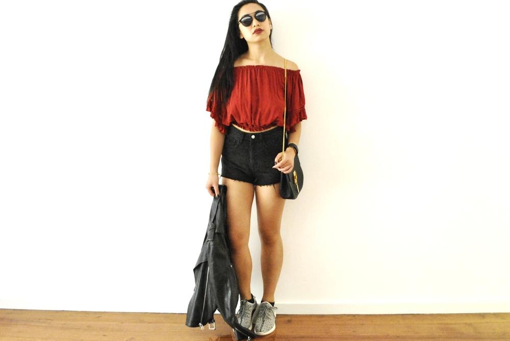 Blouse: XXI, Shorts: H&M, Sneakers: Yeezys, Jacket: Acne Studios, Bag: Chloe, Sunglasses: Dior